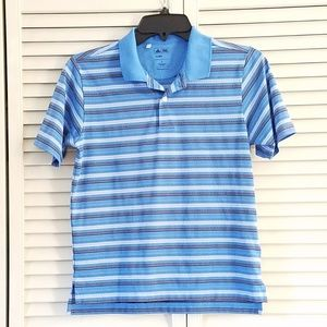 adidas Climalite Boys Golf Polo Blue Striped Small